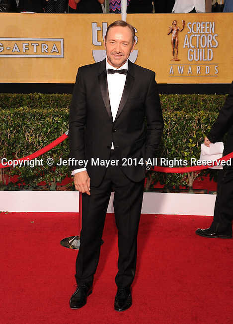 LOS ANGELES, CA- JANUARY 18: Actor Kevin Spacey arrives at the 20th Annual Screen Actors Guild Awards at The Shrine Auditorium on January 18, 2014 in Los Angeles, California.