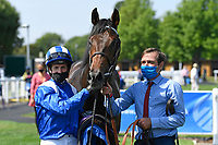 Winner of The AJN Steelstock Kentford British EBF Novice Stakes Minzaal ridden by Jim Crowley and trained by Owen Burrows in the Winners enclosure during Horse Racing at Salisbury Racecourse on 9th August 2020
