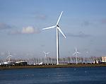 Wind turbines, Nieuwe Waterweg, ship canal between Maasluis and Hook of Holland, Netherlands