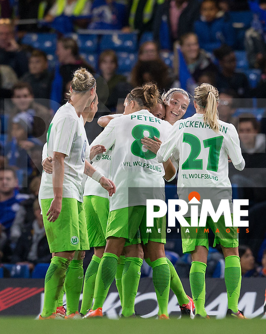 Zsanett Jakabfi (2nd right) of VfL Wolfsburg (women) celebrates her second goal during the UEFA Women's Champions League match between Chelsea Ladies and VfL Wolfsburg at Stamford Bridge, London, England on 5 October 2016. Photo by Andy Rowland.