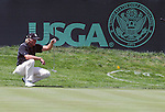 03 August 2008:   Greg Norman studies a the 1st green at the 2008 US Senior Open Championship at The Broadmoor, Colorado Springs, CO.