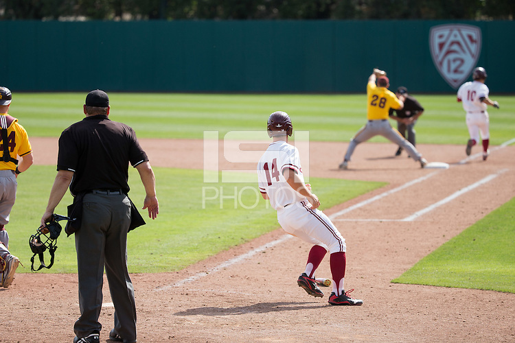 STANFORD, CA - April 24, 2016:  Stanford hosts Arizona State at Klein Field at Sunken Diamond. Arizona State won 8-7 in 10 innings.