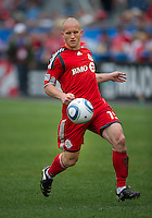 22 May 2010: Toronto FC forward Chad Barrett #19 in action during a game between the New England Revolution and Toronto FC at BMO Field in Toronto..Toronto FC won 1-0.....