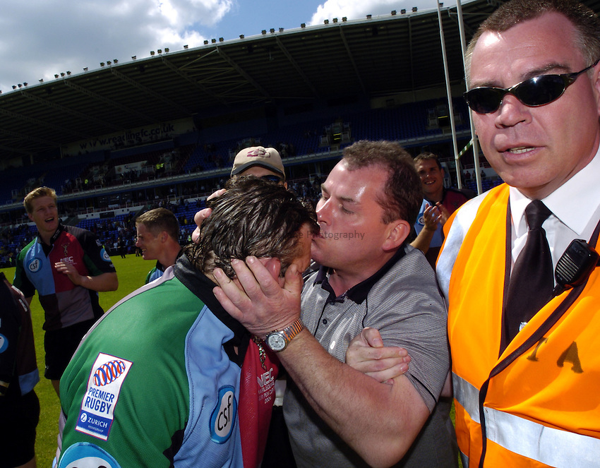 Photo: Richard Lane..Montferrand  v NEC Harlequins. Parker Pen Challenge Cup Final. 22/05/2004..A fan show his admiration of Jason Leonard with a kiss.