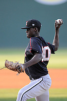 Pitcher Robinson Leyer (20) of the Kannapolis Intimidators in a game against the Greenville Drive on Friday, April 11, 2014, at Fluor Field at the West End in Greenville, South Carolina. Greenville won, 13-2. (Tom Priddy/Four Seam Images)