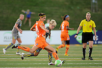 Yael Averbuch (13) of Sky Blue FC is marked by Lori Lindsey (6) of the Philadelphia Independence. The Philadelphia Independence defeated Sky Blue FC 2-1 during a Women's Professional Soccer (WPS) match at John A. Farrell Stadium in West Chester, PA, on June 6, 2010.