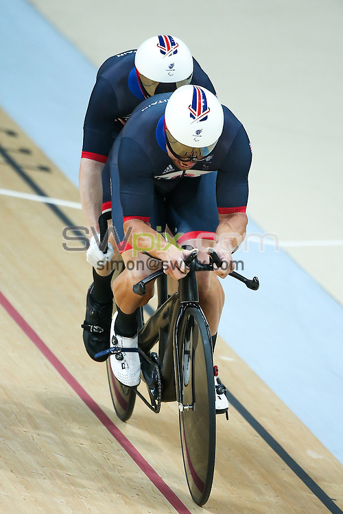 Picture by Alex Whitehead/SWpix.com - 11/09/2016 - 2016 Rio Paralympic Games - Track Cycling - Olympic Velodrome, Rio de Janeiro, Brazil - Great Britain's James Ball and Craig MacLean compete in the Men's B 1000m Time Trial Final.