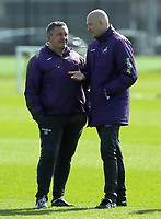 Pictured L-R: Coaches Gary Richards and Cameron Toshack Friday 24 March 2017<br /> Re: Swansea City U23 training ahead of their International Cup game against Porto, Fairwood training ground, UK