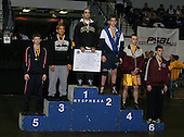 Stephen Wantagh (1st - Wantagh); Cody Ruggirello (2nd - Valley Central); Ricardo Gomez (3rd - Brentwood); Winky Shepard (4th - Central Square); Casey Lanave (5th - Chenango Forks); and TJ Popolizio (6th - Shenendehowa) pose on the podium for the Division One 119 weight class during the NY State Wrestling Championship finals at Blue Cross Arena on March 9, 2009 in Rochester, New York.  (Copyright Mike Janes Photography)