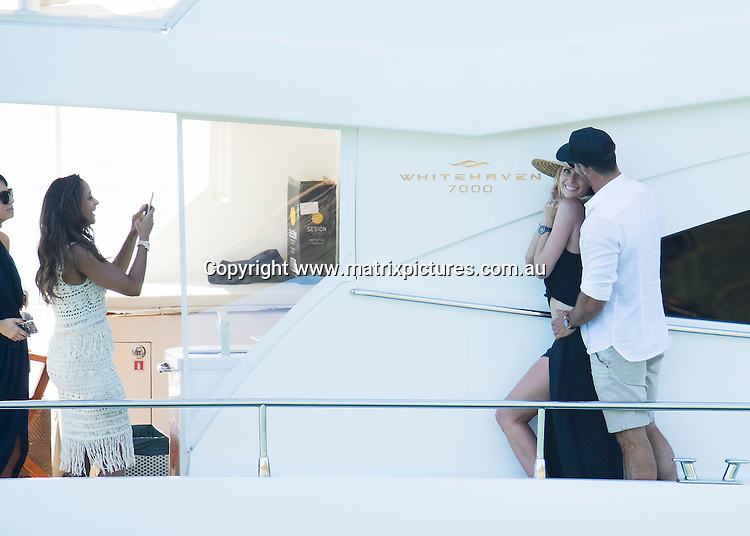 20 DECEMBER 2016 SYDNEY AUSTRALIA<br /> WWW.MATRIXPICTURES.COM.AU<br /> <br /> EXCLUSIVE PICTURES<br /> <br /> Jennifer Hawkins pictured with husband Jake Wall taking to the harbour with friends for a Christmas Party.