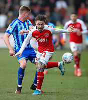 Fleetwood Town's Barrie McKay is tackled by Blackpool's Taylor Moore<br /> <br /> Photographer Lee Parker/CameraSport<br /> <br /> The EFL Sky Bet League One - Fleetwood Town v Blackpool - Saturday 7th March 2020 - Highbury Stadium - Fleetwood<br /> <br /> World Copyright © 2020 CameraSport. All rights reserved. 43 Linden Ave. Countesthorpe. Leicester. England. LE8 5PG - Tel: +44 (0) 116 277 4147 - admin@camerasport.com - www.camerasport.com