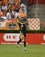 Columbus Crew forward Alejandro Moreno (10) heads the ball. The Houston Dynamo tied the Columbus Crew 1-1 in a regular season MLS match at Robertson Stadium in Houston, TX on August 25, 2007.