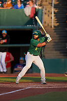Beloit Snappers Logan Farrar (2) at bat during a Midwest League game against the Lansing Lugnuts at Cooley Law School Stadium on May 4, 2019 in Lansing, Michigan. Beloit defeated Lansing 2-1. (Zachary Lucy/Four Seam Images)