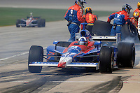 11 September, 2005, Joliet,IL,USA<br /> Dario Franchitti exits his pit following a stop.<br /> Copyright&copy;F.Peirce Williams 2005