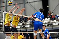 GRONINGEN - Volleybal, Abiant Lycurgus - Zaanstad, Alfa College , Eredivisie , seizoen 2017-2018, 28-10-2017 smash Lycurgus speler Frits van Gestel