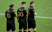 LOS ANGELES, CA - MARCH 01: Carlos Vela #10, Eduard Atuesta #20 and Dejan Jakovic #5 of LAFC build a wall during a game between Inter Miami CF and Los Angeles FC at Banc of California Stadium on March 01, 2020 in Los Angeles, California.