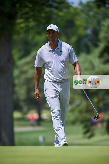 Tiger Woods (USA) barely misses his putt on 2 during 3rd round of the World Golf Championships - Bridgestone Invitational, at the Firestone Country Club, Akron, Ohio. 8/4/2018.<br /> Picture: Golffile | Ken Murray<br /> <br /> <br /> All photo usage must carry mandatory copyright credit (© Golffile | Ken Murray)