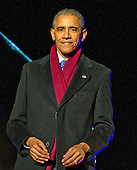 United States President Barack Obama returns to his seat after making remarks as he and the First Family attend the National Christmas Tree Lighting on the Ellipse in Washington, DC on Thursday, December 1, 2016.<br /> Credit: Ron Sachs / Pool via CNP