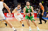 Real Madrid's player Sergio Llull and Unics Kazan's player Quino Colom during match of Turkish Airlines Euroleague at Barclaycard Center in Madrid. November 24, Spain. 2016. (ALTERPHOTOS/BorjaB.Hojas) //NORTEPHOTO