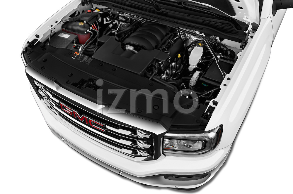 Car Stock 2017 GMC Sierra-1500 Crew-Cab-Short-Box-SLT 4 Door Pickup Engine  high angle detail view