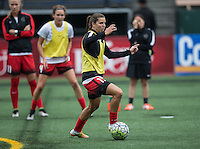 Seattle, WA - Saturday Aug. 27, 2016: Tobin Heath prior to a regular season National Women's Soccer League (NWSL) match between the Seattle Reign FC and the Portland Thorns FC at Memorial Stadium.
