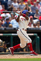 Philadelphia Phillies shortstop Jimmy Rollins #11 swings during the Major League Baseball game against the Pittsburgh Pirates on June 28, 2012 at Citizens Bank Park in Philadelphia, Pennsylvania. The Pirates defeated the Phillies 5-4. (Andrew Woolley/Four Seam Images).