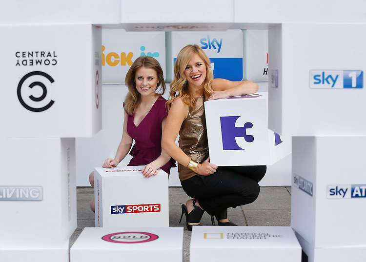 No Repro Fee.<br /> <br /> SKY LAUNCHES IRELAND'S BIGGEST CATCH UP TV SERVICE<br /> TV3 among 43 popular channels on Sky Catch Up TV service<br /> <br /> Rachel Wyse of Sky Sports News and Karen Koster of TV3's Xposé, help Sky Ireland launch Ireland's biggest Catch Up TV service. Sky customers can now catch up on their favourite TV from a total of 43 Sky and non-Sky channels, including TV3 (available next week), at no extra cost. Pic. Robbie Reynolds<br /> <br /> In addition to top new shows from Sky1, Sky Living, Sky Atlantic, Sky Arts 1 and Sky Arts 2, customers who connect their Sky+HD box to their broadband router will be able to watch Catch Up TV from popular channels such as TV3, Channel 4, More4, E!, Universal, SyFy, Fox, TLC, Discovery Channel, Nat Geo, History, MTV, Comedy Central, Nickelodeon, Boomerang, Disney Channel and many more. Sports fans will now also be able to catch up on the best of the action from Sky Sports 1, 2, 3, 4 and F1, while film buffs will never again miss the latest blockbusters with Sky Movies. Watch, Dave, Alibi and Gold will be added to Sky's Catch Up TV service in February, while Sky News and Eurosport will be added shortly afterwards, bringing the number of channels on Ireland's biggest Catch Up TV service to 49.