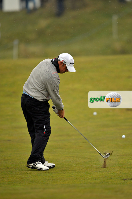 Paul McGinley plays his 2nd shot from the fairway on the 12th hole during Round1 of the 3 Irish Open on 14th May 2009 (Photo by Eoin Clarke/GOLFFILE)