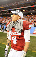 Jan. 1, 2011; Glendale, AZ, USA; Oklahoma Sooners wide receiver (4) Kenny Stills against the Connecticut Huskies in the 2011 Fiesta Bowl at University of Phoenix Stadium. The Sooners defeated the Huskies 48-20. Mandatory Credit: Mark J. Rebilas-