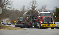 NWA Democrat-Gazette/ANDY SHUPE<br /> A pair of semi tractors makes their way Thursday, Nov. 29, 2018, up Arkansas 265 to Arkansas 170 near West Fork with the assistance of the Washington County Sheriff's Office. The truck was transporting a part of the long-decommissioned University of Arkansas SEFOR nuclear reactor to a site in Utah, with the entire vehicle being 18 feet wide and 115 feet long.