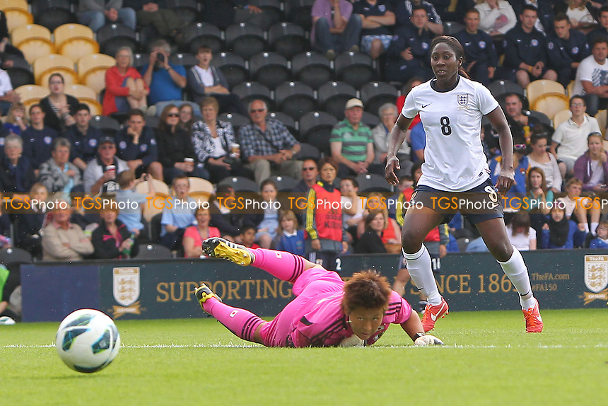 Anita Asante of England puts the ball just wide of goal - England Women vs Japan Women - Friendly Football International at the Pirelli Stadium, Burton Albion FC - 26/06/13 - MANDATORY CREDIT: Gavin Ellis/TGSPHOTO - Self billing applies where appropriate - 0845 094 6026 - contact@tgsphoto.co.uk - NO UNPAID USE