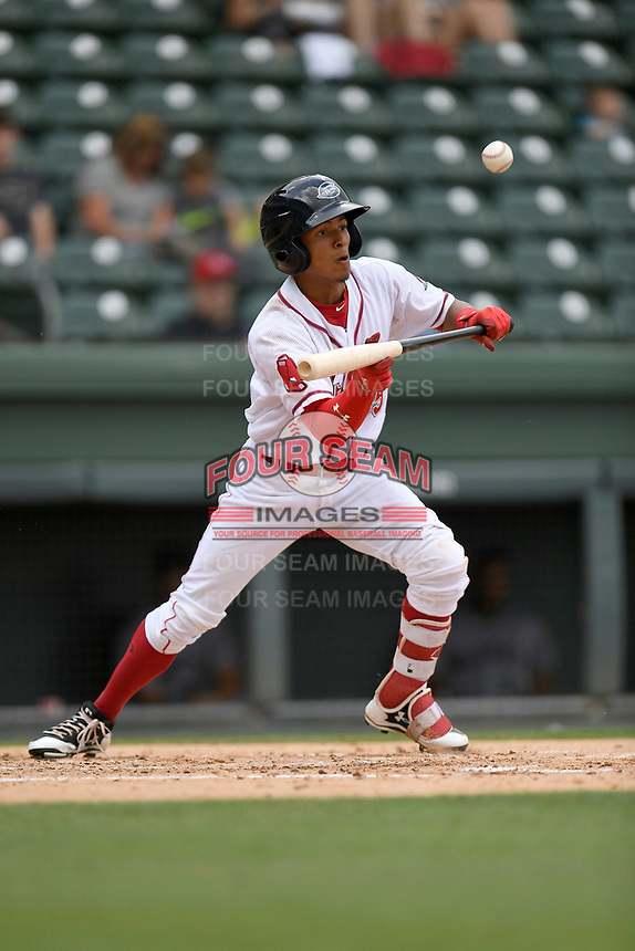 Center fielder Lorenzo Cedrola (35) of the Greenville Drive bats in a game against the Augusta GreenJackets on Thursday, May 17, 2018, at Fluor Field at the West End in Greenville, South Carolina. Augusta won, 2-1. (Tom Priddy/Four Seam Images)