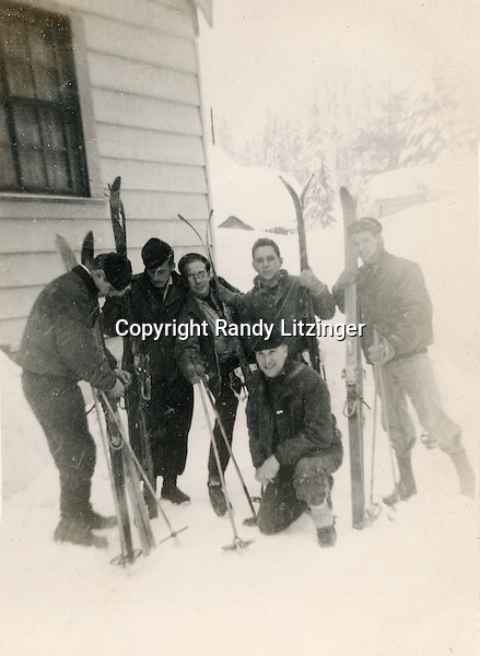 Skiiing at Snoqualme Pass, WA - (l to r) Gray, Tracy, Lee, 'Porky' Gendreau, Campbell and 'Moose' (kneeling) - Dec. 22, 1945