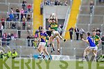 Anthony Maher, Kerry in action against George Hennigan, Tipperary in the first round of the Munster Football Championship at Fitzgerald Stadium on Sunday.