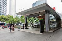 Suzhou, Jiangsu, China.  Entrance to an Underground Metro Station.