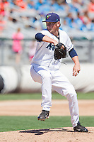 Anthony Misiewicz (18) of the Everett Aquasox delivers a pitch during a game against the Vancouver Canadian at Everett Memorial Stadium in Everett, Washington on July 28, 2015.  Everett defeated Vancouver 8-5. (Ronnie Allen/Four Seam Images)
