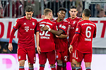 17.03.2019, Allianz Arena, Muenchen, GER, 1.FBL,  FC Bayern Muenchen vs. Mainz 05, DFL regulations prohibit any use of photographs as image sequences and/or quasi-video, im Bild Jubel nach dem Tor zum 2-0 durch James Rodriguez (FCB #11)  mit Robert Lewandowski (FCB #9) Joshua Kimmich (FCB #32) David Alaba (FCB #27) Thiago (FCB #6) <br /> <br />  Foto &copy; nordphoto / Straubmeier