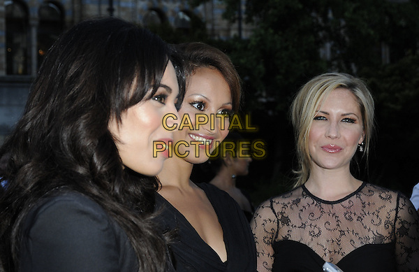 JADE EWEN, AMELLE BERRABAH & HEIDI RANGE of Sugababes.The F1 Party held at the Natural History Museum, London, England, UK..5th July 2010.Formula one headshot portrait band group profile black lace sheer see thru through.CAP/CAN.©Can Nguyen/Capital Pictures.