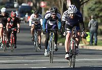 Penn State's Nolan Amos, right, and Penn State's Stephen Jaeger, left, during the Men's D Criterium race at the Nittany Cycling Classic hosted by Penn State Cycling in State College, Pa., on April 20, 2014. Photo/©2014 Craig Houtz