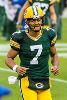 Green Bay Packers quarterback Brett Hundley (7) during a National Football League game against the New Orleans Saints on October 22, 2017 at Lambeau Field in Green Bay, Wisconsin.  New Orleans defeated Green Bay 26-17. (Brad Krause/Krause Sports Photography)