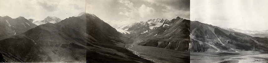 August 22, 1919, Panorama of the East Fork Toklat River and Glacier in Denali National Park, Alaska by U.S. Geological Survey Geologist Stephen Reid Capps.