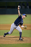 Asheville Tourists relief pitcher Bryan Baker (33) delivers a pitch to the plate against the Kannapolis Intimidators at Kannapolis Intimidators Stadium on May 5, 2017 in Kannapolis, North Carolina.  The Tourists defeated the Intimidators 5-1.  (Brian Westerholt/Four Seam Images)