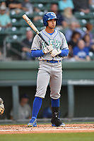 Right fielder Amalani Fukofuka (15) of the Lexington Legends bats in a game against the Greenville Drive on Wednesday, April 12, 2017, at Fluor Field at the West End in Greenville, South Carolina. Greenville won, 4-1. (Tom Priddy/Four Seam Images)
