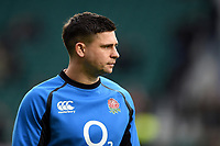 Ben Youngs of England looks on during the pre-match warm-up. Guinness Six Nations match between England and France on February 10, 2019 at Twickenham Stadium in London, England. Photo by: Patrick Khachfe / Onside Images