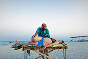 Valeriy Petrovich Muha is a doctor and masseur from Dnepropetrovsk. He has his own clinic and come to the seaside in search of new customers. Ukraine. Azov sea. Fedotov spit. 08.2009. Oksana Yushko for Mare