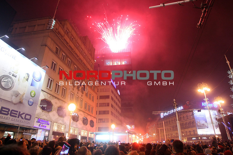 01.01.2014., Zagreb, Croatia  - New Year celebrations .Fireworks over city  on the main square.<br />  Photo:Luka Stanzl/PIXSELL