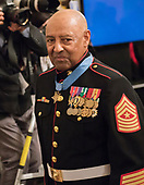 Sergeant Major John L. Canley, United States Marine Corps (Retired) departs following the ceremony where US President Donald J. Trump awarded him the Medal of Honor for conspicuous gallantry during the Vietnam War in a ceremony in the East Room of the the White House in Washington, DC on Wednesday, October 17, 2018.<br /> Credit: Ron Sachs / CNP