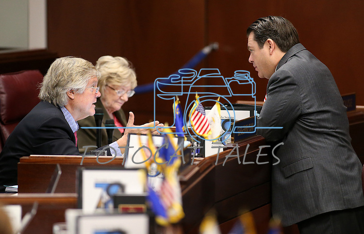 Nevada Sen. Tick Segerblom, D-Las Vegas, left, and Senate Majority Leader Michael Roberson, R-Henderson, talk on the Senate floor at the Legislative Building in Carson City, Nev., on Tuesday, April 7, 2015. Sen. Joyce Woodhouse, D-Henderson, is at rear. <br /> Photo by Cathleen Allison