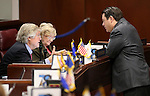 Nevada Sen. Tick Segerblom, D-Las Vegas, left, and Senate Majority Leader Michael Roberson, R-Henderson, talk on the Senate floor at the Legislative Building in Carson City, Nev., on Tuesday, April 7, 2015. Sen. Joyce Woodhouse, D-Henderson, is at rear. <br /> Photo by Cathleen Allison