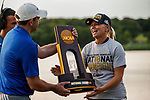 STILLWATER, OK -  The championship trophy is presented to Arizona head coach Laura Ianello after her team won the Division I Women's Golf Team Match Play Championship held at the Karsten Creek Golf Club on May 23, 2018 in Stillwater, Oklahoma. (Photo by Shane Bevel/NCAA Photos via Getty Images)